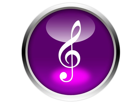 treble clef note on glossy purple button graphic
