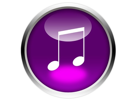 eighth: eighth note on glossy purple button graphic Stock Photo