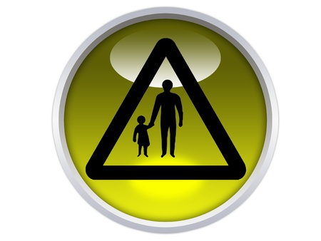 pedestrians road in ahead symbol on yellow glossy signage isolated over white background Stock Photo