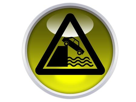 quayside warning symbol on yellow glossy signage isolated over white background Stock Photo