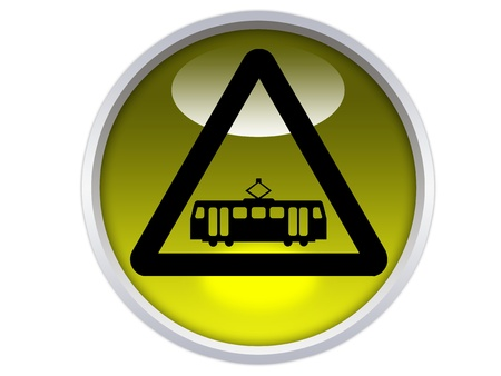 trams crossing ahead symbol on yellow glossy signage isolated over white background Stock Photo