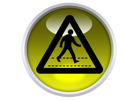 pedestrians crossing symbol on yellow glossy signage isolated over white background