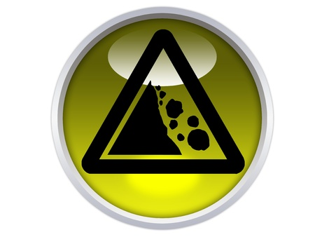 fallen rocks symbol on yellow glossy signage isolated over white background