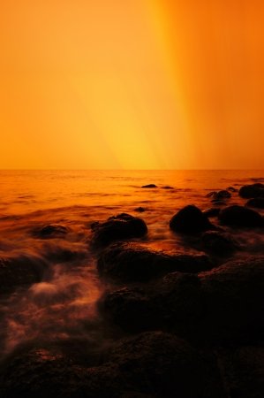golden sunrise seascape photo