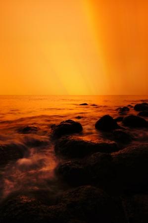 golden sunrise seascape Stock Photo