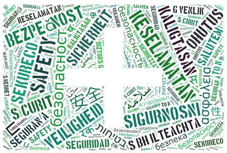 Background concept wordcloud illustration of safety with symbol in multiple languages