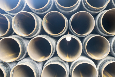 oxidize: Concrete rounded pipes stacking on deck for underwater oil and gas purpose.