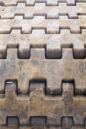crawler crane chains track pattern. Stock Photo