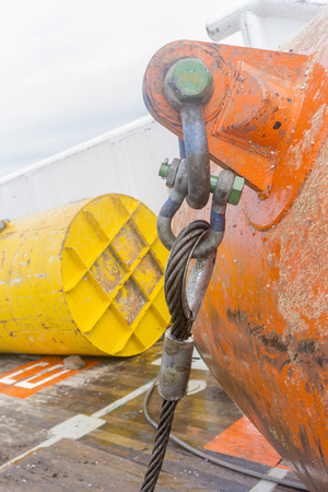 Anchor wire connection attached to buoyancy tank. Stock Photo