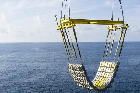 heavy risk: Underwater pipeline matress installation using pedestal crane for oil and gas industries.