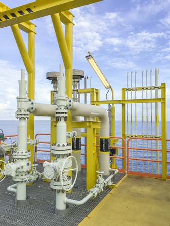 Oil and gas industry. View of pipeline system in process area at oil and gas platform.