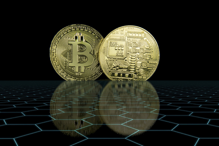 Cryptocurrency Business Concept - Golden shining front and rear Bitcoin with glowing hexa grid foreground and black background.
