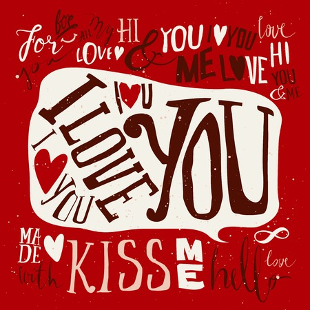 Set of labels for design love. Heart. Set of labels. Postcard love. I love you. Hello. Kiss. Vector