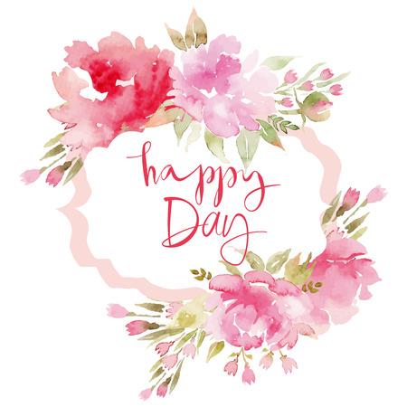 Acuarela flores tarjeta de felicitación. Hecho A Mano. Te Felicito.