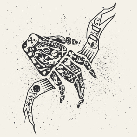 all souls day: Bony hand. Heavy rock. Playing cards. Retro illustration. Black and white. Key gun.