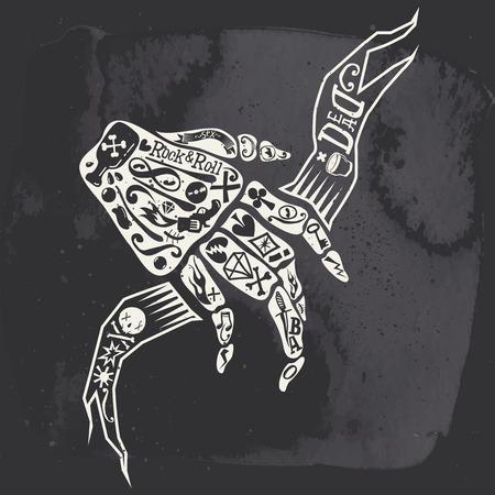 beenderige: Bony de hand. Heavy rock. Kaarten. Retro illustratie. Zwart en wit. Key pistool. Stock Illustratie