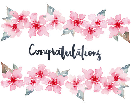 congratulations: Watercolor greeting card flowers. Handmade. Congratulations.