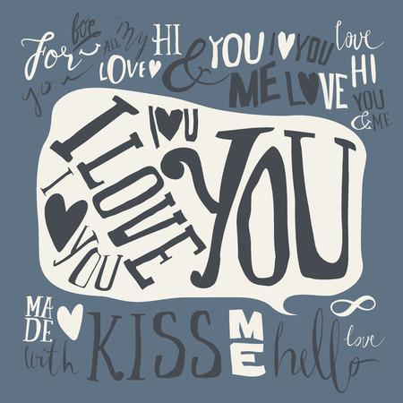adore: Heart. Set of labels. Postcard love. I love you. Hello. Kiss. Illustration