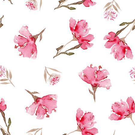 spring flowers: Watercolor flowers. Seamless pattern. Vector. Illustration. Gentle Illustration