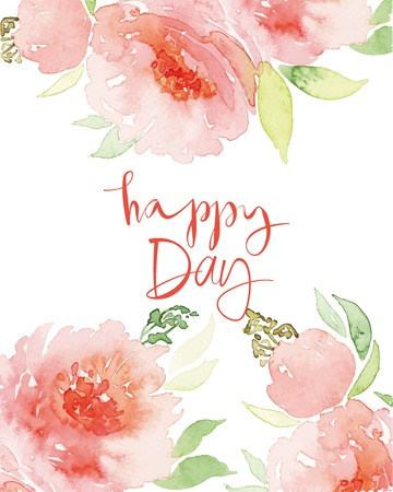Watercolor greeting card flowers. Watercolor greeting card flowers. Handmade. Congratulations.  イラスト・ベクター素材