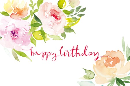 congratulations: Acuarela flores tarjeta de felicitaci�n. Acuarela flores tarjeta de felicitaci�n. Hecho A Mano. Te Felicito. Vectores