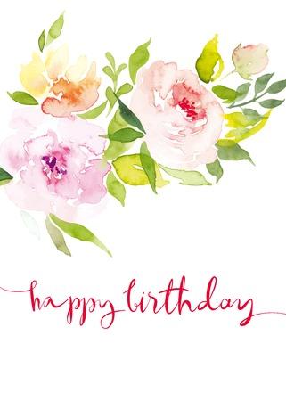 borde de flores: Acuarela flores tarjeta de felicitaci�n. Acuarela flores tarjeta de felicitaci�n. Hecho A Mano. Te Felicito. Vectores