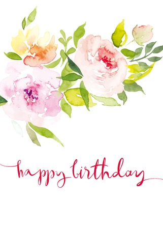 Watercolor greeting card flowers. Watercolor greeting card flowers. Handmade. Congratulations. Illustration