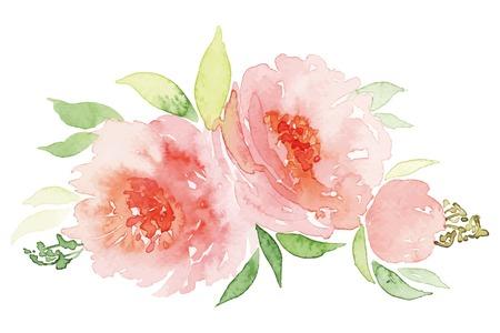 水彩のグリーティング カードの花。水彩のグリーティング カードの花。手作り。おめでとうございます。  イラスト・ベクター素材