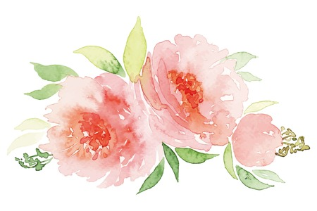beautiful rose: Watercolor greeting card flowers. Watercolor greeting card flowers. Handmade. Congratulations. Illustration