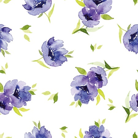 watercolor blue: Blue watercolor flowers seamless pattern. Blue watercolor flowers seamless pattern. Set for fabric, wallpaper, packaging.