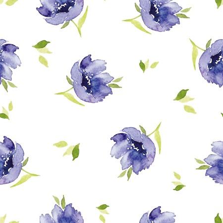 Blue watercolor flowers seamless pattern. Blue watercolor flowers seamless pattern. Set for fabric, wallpaper, packaging. Vector