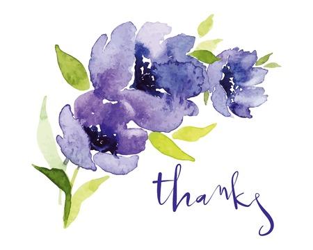 Blaue Blumen des Postkartenaquarells. Mutter