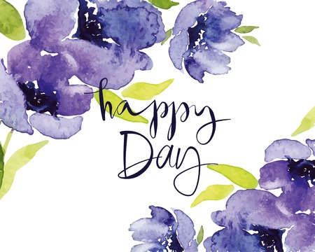 Postcard watercolor blue flowers. Mother\ Vector