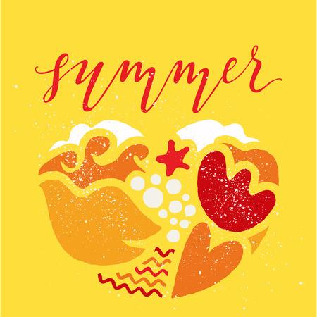 gamma: Postcard summer. Illustration. Figure. warm gamma. Yellow background.