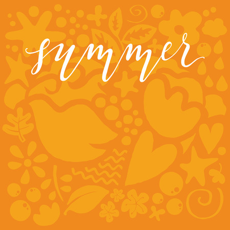 postcard background: Postcard summer. Illustration. Figure. warm gamma. Yellow background.