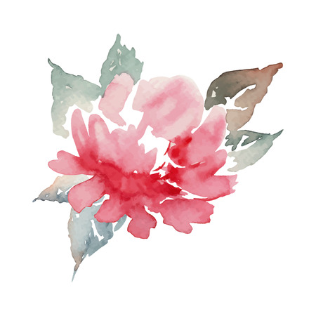 Peony watercolor. Lonely flower. Pattern. Illustration