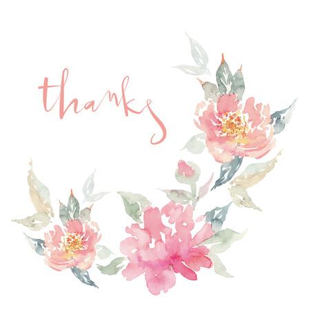 Aquarel wenskaart bloemen. Handgemaakt. Gefeliciteerd.