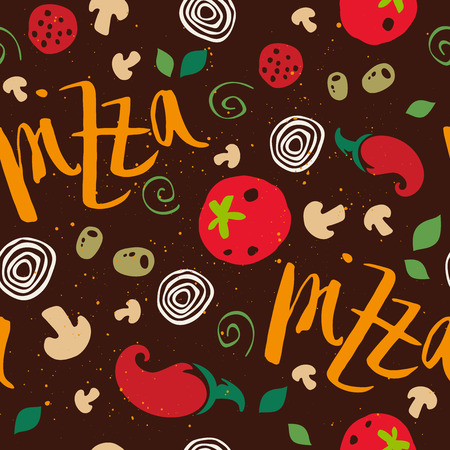 Pizza seamless pattern. Set of vegetables. Tomatoes, mushrooms, onions, peppers, salami, olives, dough. Vector