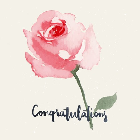 flower border: Rose. Watercolor greeting card flowers. Handmade. Congratulations. Illustration