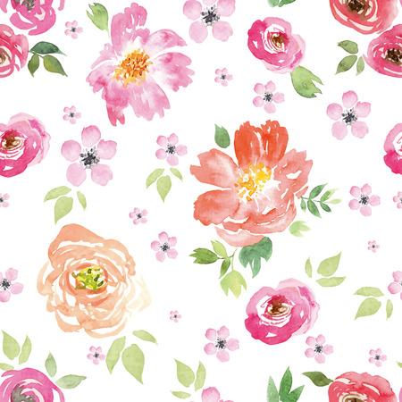 수채화 꽃. 원활한 패턴입니다. 벡터. 그림. ?? 부드러운