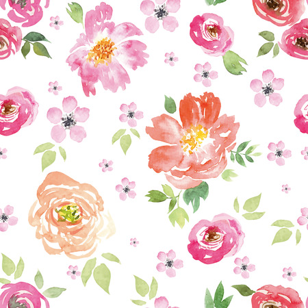 Watercolor flowers. Seamless pattern. Vector. Illustration.??Gentle Vettoriali