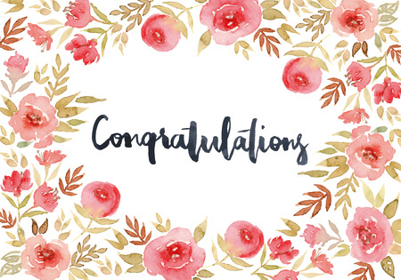 wedding decoration: Greeting card with pink flowers. Floral pattern. Congratulations. Hand lettering.
