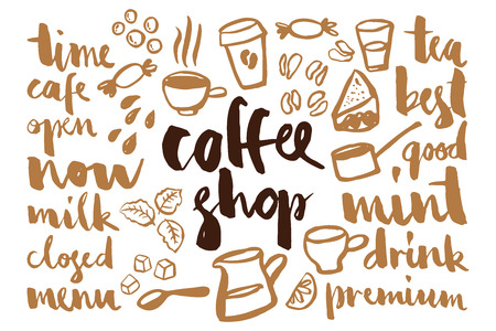 Set of coffee label names for cafes and packaging