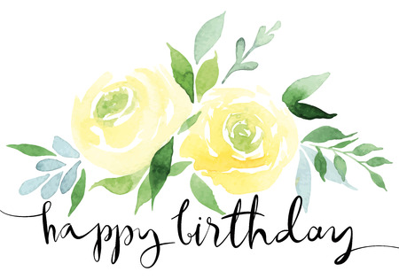 バラのカードです。バラの花束を黄色。繊細な色です。水彩画。手作り。誕生日。 写真素材 - 38364843