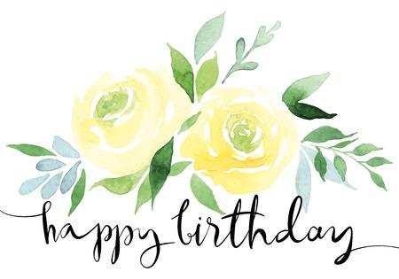 로즈 카드. 장미의 노란색 꽃다발입니다. 섬세한 색상. 수채화. 수공. 생일.