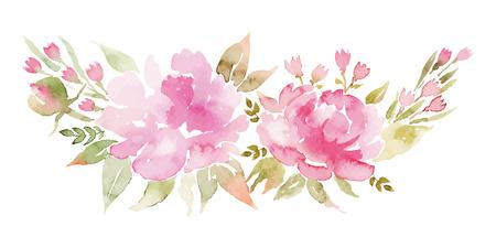dessin fleur: aquarelle fleurs pivoines. Cartes de voeux à la main. Composition de printemps. Illustration