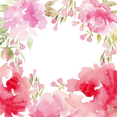marcos decorativos: Flores de la acuarela peon�as. Tarjetas de felicitaci�n hechas a mano. Composici�n de primavera.