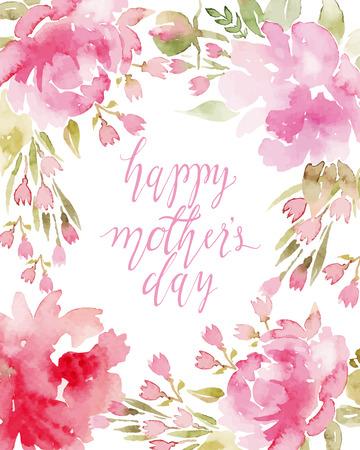 dattes: aquarelle fleurs pivoines. Cartes de voeux � la main. Composition de printemps. Illustration
