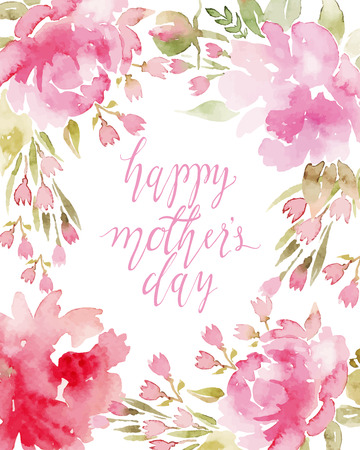 marco cumplea�os: Flores de la acuarela peon�as. Tarjetas de felicitaci�n hechas a mano. Composici�n de primavera.