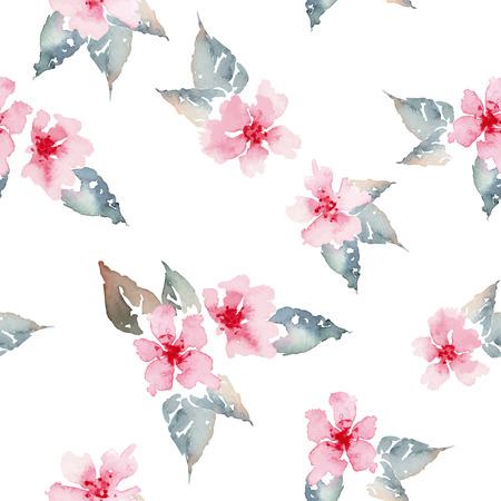 Watercolor flowers. Seamless pattern. Vector. Illustration. Çizim